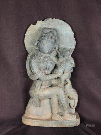 Antique Indian Granite Carving of Dancer