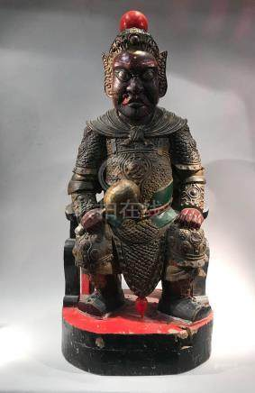 Chinese Carved Wood Warrior with Drumstick