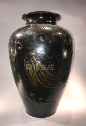 Japanese Bronze Vase with Dragon Motif