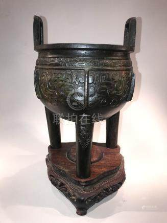 Archaic Chinese Bronze Ding on Wood Base