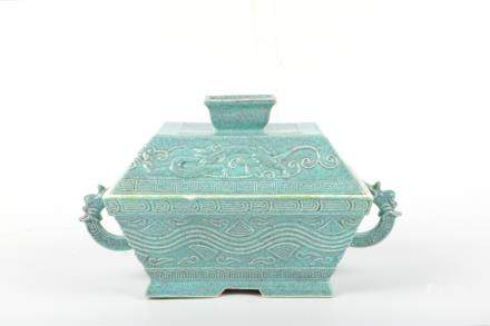 A Chinese Jun-Type Porcelain Box with Cover