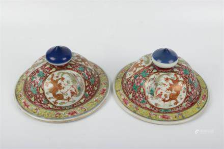 A Pair of Chinese Famille-Rose Porcelain Plates