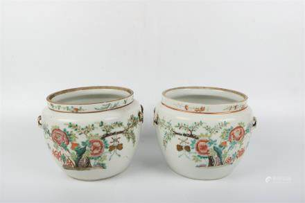 A Pair of Chinese Famille-Rose Porcelain Jars