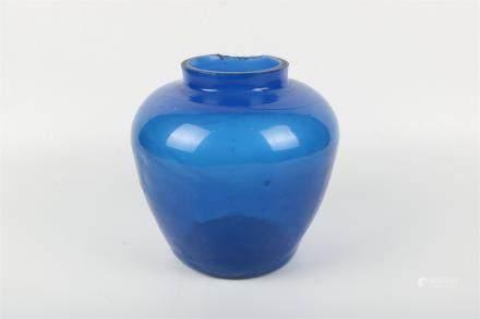 A Chinese Blue Peking Glass Jar