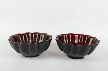 A Pair of Chinese Black Peking Glass Bowls