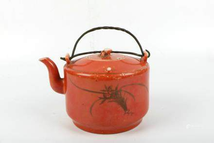 A Chinese Red Glazed Porcelain Tea Pot