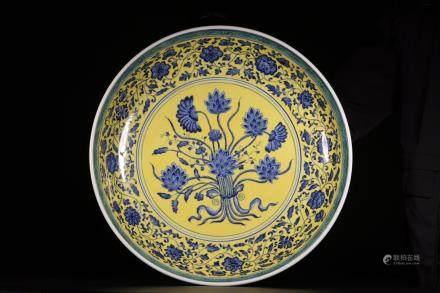 YONGZHENG MARK, A YELLOW AND BLUE PLATE