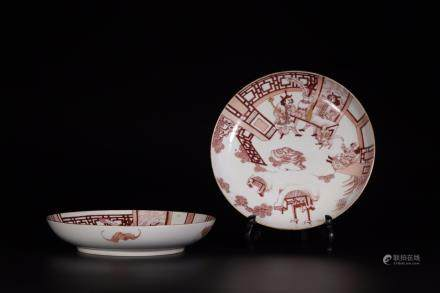 JIAQING MARK, A PAIR OF RED GLAZED PLATES