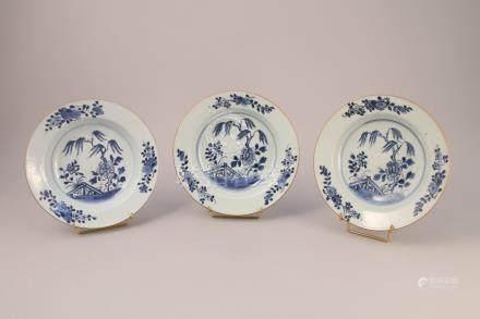 CHINE, COMPAGNIE DES INDES - Époque KANGXI (1662-1722)  SIX ASSIETTES en porcel