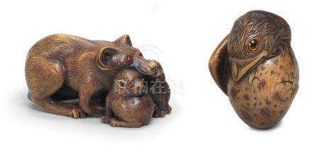 Two boxwood netsuke of a hatching bird and a fox with cubs By Jack Coutu (1924-2017), English, the first carved November 1978, the second carved October 1973 (2)