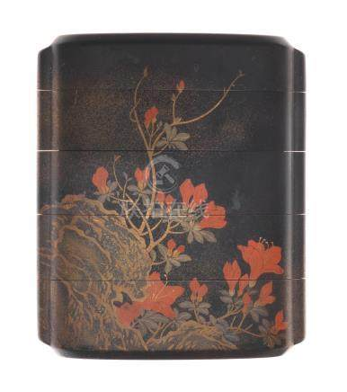 A black-lacquer four-case inro  By Nakaoji Moei, Edo period (1615-1868), late 18th/early 19th century