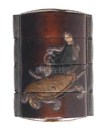 A lacquered and inlaid three-case inro Ritsuo style, Edo period (1615-1868), late 18th/early 19th century