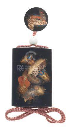 A black-lacquer three-case inro and matching manju netsuke By Uemura Enshu (born 1955), Showa (1926-1989) or Heisei (1989-2019) era, late 20th/early 21st century