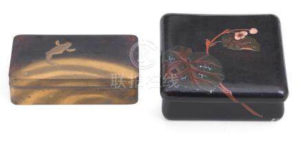 Two lacquer kobako (small boxes) and covers Meiji era (1868-1912), late 19th/early 20th century (4)
