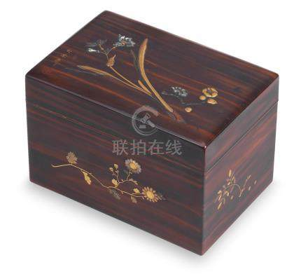 A lacquered-wood rectangular chabako (box for tea utensils) and cover By Shoeisai, Meiji (1868-1912) or Taisho (1912-1926) era, circa 1910-1920 (2)