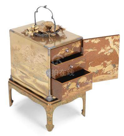 A magnificent gold-lacquer kodansu (small cabinet) with en-suite stand  Meiji era (1868-1912), circa 1870-1880 (5)