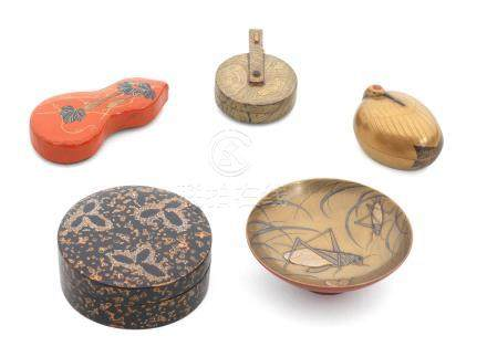 A miscellaneous group of lacquer pieces Edo period (1615-1868) or Meiji era (1868-1912), early to mid-19th century (9)