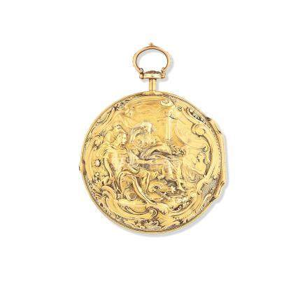 Benjamin Sidey, London. A gold key wind pair case pocket watch with repousse decoration London Hallmark for 1758