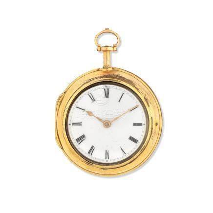 I. P. Kroese, Amsterdam. A gilt key wind quarter repeating pair case pocket watch Circa 1760
