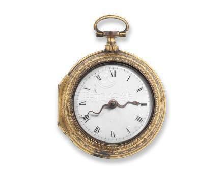 Richard Finch, London. A gilt key wind repeating pair case pocket watch Circa 1740