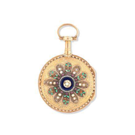 Delisle & frères, Moricand. A continental gold and enamel key wind open face pocket watch Circa 1780