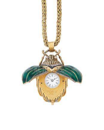B.Haas Snel, Paris. An unusual and highly detailed gilt metal, enamel and diamond set concealed watch in the form of a beetle Circa 1865