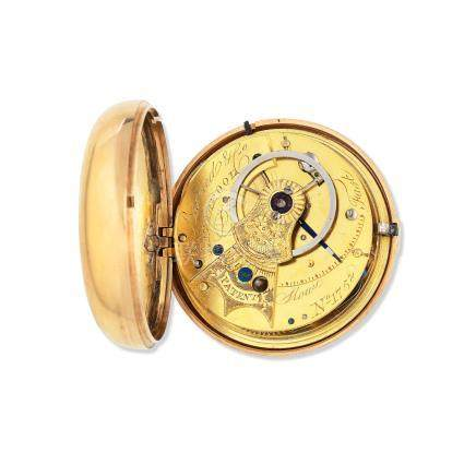 J. Barned & Co, Liverpool. An 18K gold key wind pair case pocket watch Chester Hallmark for 1810