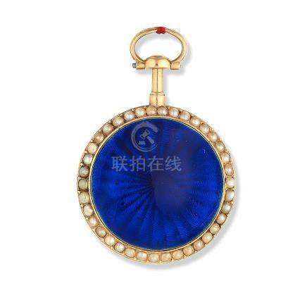 Monchanin, A Paris. A continental gold and seed pearl set key wind open face pocket watch with enamel decoration Circa 1800