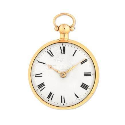 Benjamin Wood, London. An 18K gold key wind open face pocket watch London Hallmark for 1789