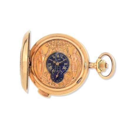Bonne. An 18K gold keyless wind minute repeating Jacquemart full hunter pocket watch Circa 1900