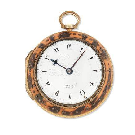 Julien Le Roy, Paris. A gilt metal and tortoiseshell key wind open face pair case coach watch made for the Turkish market Circa 1850
