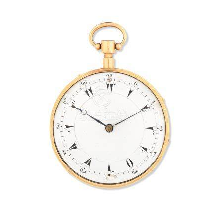 An 18K gold key wind open face musical and repeating pocket watch for the Turkish market Circa 1850
