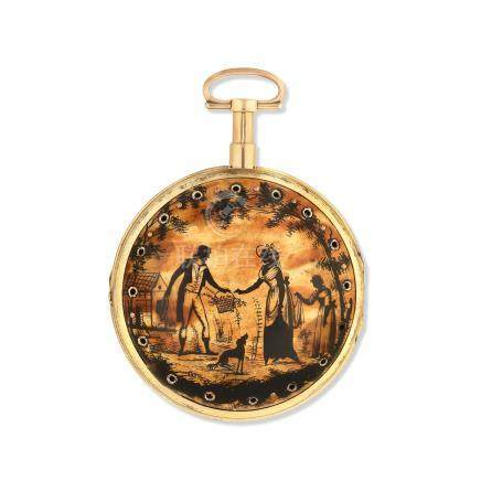 An unusual and rare 18K gold and gilt key wind calendar striking pair case with painted horn gilt outer case Circa 1799