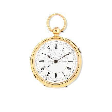 William G Lindley, Melbourne. An 18K gold key wind open face pocket watch with centre seconds London Hallmark for 1806