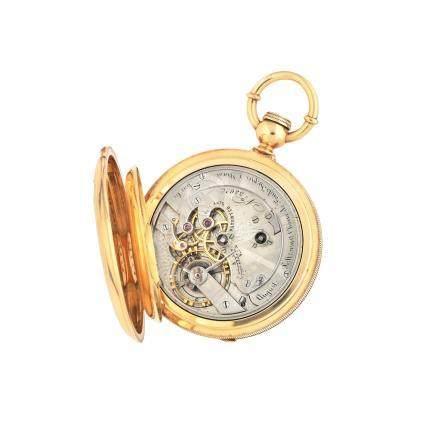 Auguste Saltzman, Chaux de Fonds. An 18K gold key wind full hunter pocket watch Circa 1865