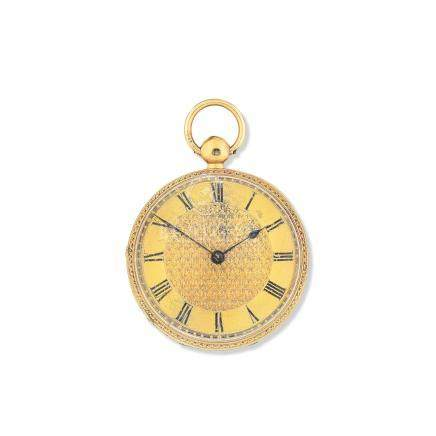 F.B. Adams & Sons, St. John's Square, London. An 18K gold key wind open face pocket watch with 18K gold chain London Hallmark for 1834