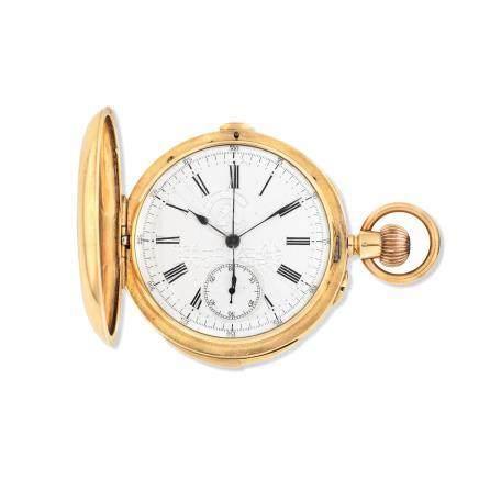 An 18K gold keyless wind minute repeating chronograph full hunter pocket watch Circa 1890