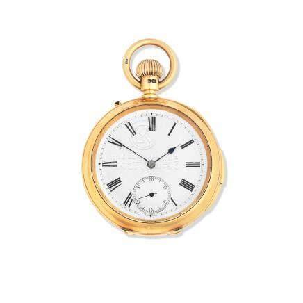 Johnson & Co, London. An 18K gold keyless wind open face quarter repeating pocket watch Circa 1900