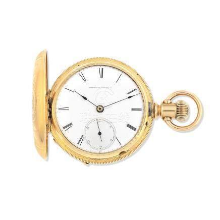 Appleton, Tracy, & Co. A 14K gold keyless wind full hunter pocket watch Circa 1890