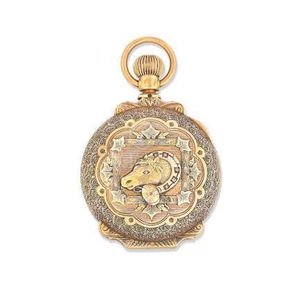 New Columbus Time King. A 14K gold keyless wind full hunter pocket watch Circa 1890
