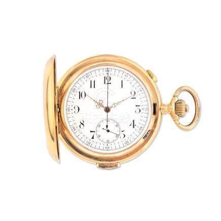 Invicta. An 18K gold keyless wind quarter repeating full hunter pocket watch Circa 1900
