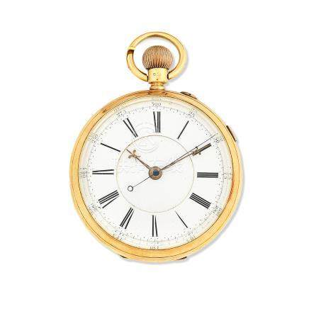 John Hawley & Son, 52 Hatton Garden, London, Manchester & Coventry. An 18K gold keyless wind open face pocket watch with stop/start seconds Chester Hallmark for 1890