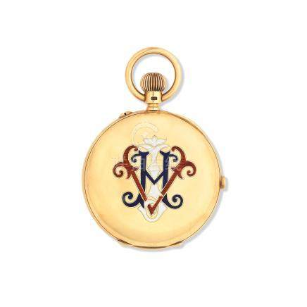H. B. Crouch & Son, 48 Queen St and 16 St Mary St, Cardiff. An 18K gold keyless wind chronograph full hunter pocket watch with enamel monogram to reverse London Hallmark 1903