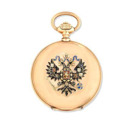 Paul Buhre. A 14K gold keyless wind full hunter pocket watch with applied Russian two headed eagle crest Circa 1890