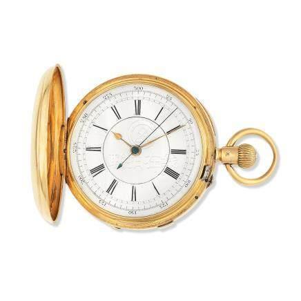 An 18K gold keyless wind full hunter pocket watch with stop/start seconds Birmingham Hallmark for 1899