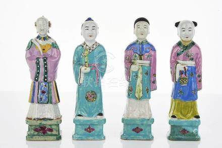 Four Chinese Famille Rose Figures of Immortals
