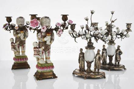 Pair of Chinese Figural Candelabra