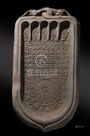 "Massive Carved Stone Burmese Buddha ""Footprint"""