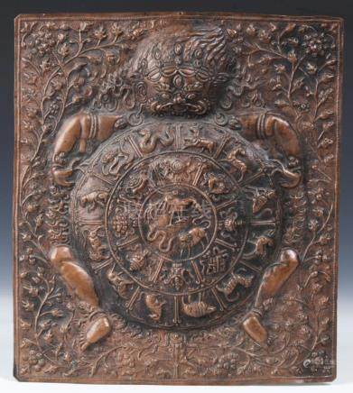 Antique Newari Copper Repousse Wheel of Life