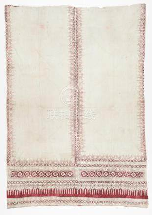 Pair of Sewn Together Hand Painted Textiles/Drapes, Ceylon/S
